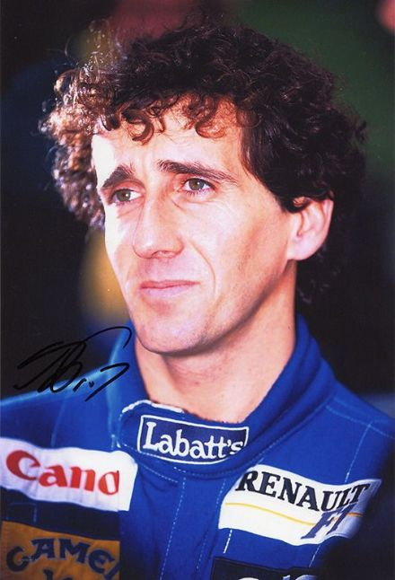 Alain Prost, French F1 driver, signed 12x8 inch photo.